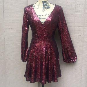 Sz M Gianni Bini Burgundy Sequin Dress EUC